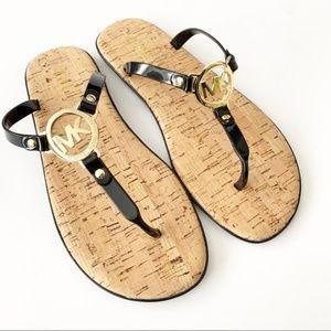 NEW Michale Kors Gold Charm Cork Sandals